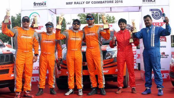 Winners of Rally Coimbatore, Amittrajit Ghosh and Ashwin Naik, flanked by Sunny Sidhu and PVS Murthy in second place, and Dean Mascrenhas and Shanmugha S in third place