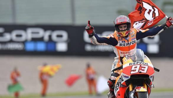 Repsol Honda's Marc Marquez celebrates his win at Sachsenring