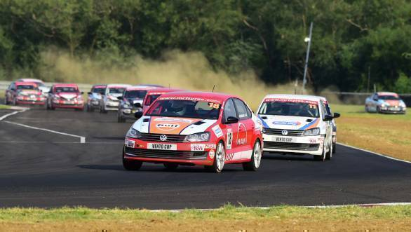 Niranjan Todkari on his way to victory at Race 3 of Round 2 of the Volkswagen Vento Cup
