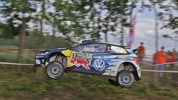 Andreas Mikkelsen on his way to victory at the 2016 Rally Poland