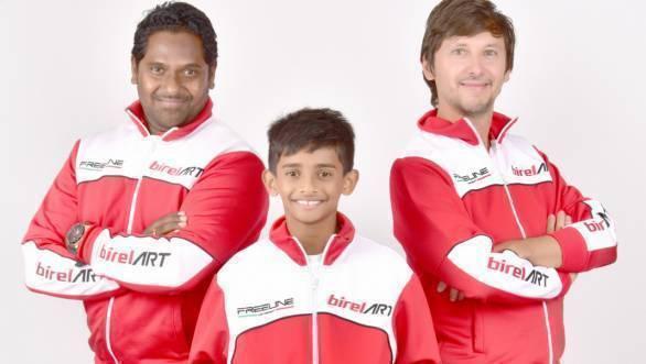 Ruhaan Alva with Team Director Preetham Muniyappa and Team Principal Marco Bartoli
