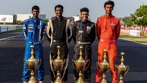 2016 National Champions - Keith Desouza (IJTC), Arjun Narendra (ITC), Vikash Anand (MRF 1600) and Raghul Rangasamy (F1300)