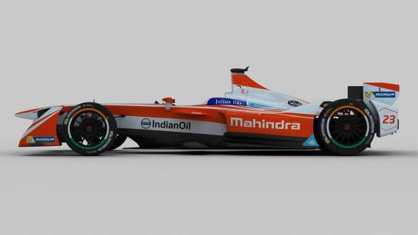 The M3Electro with its brand new livery for the third season of Formula E
