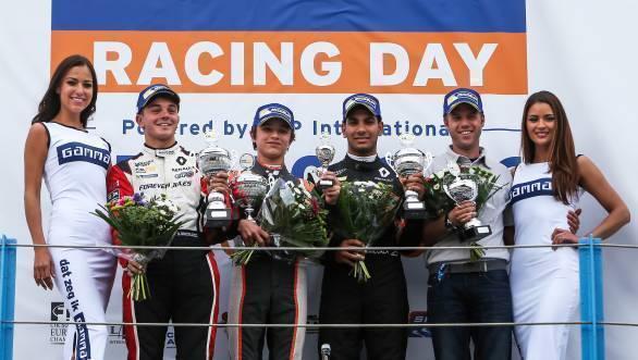 Lando Norris of Josef Kaufmann Racing, Dorian Boccolacci of Tech 1 Racing and Jehan Daruvala of Josef Kaufmann Racing on the podium at Assen