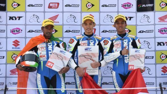 K Jagan on the podium of Race 1 of the Suzuki Asian Challenge at Sentul