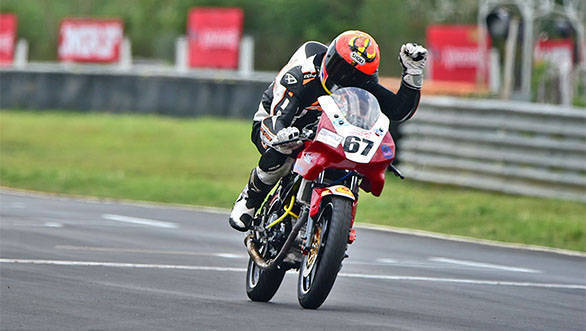 Rajini Krishnan, winner of Super Sport Indian 165cc race (August 14)