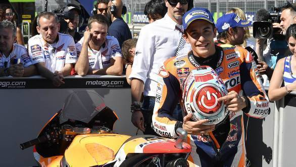 Marc Marquez claimed his fourth consecutive pole at Aragon