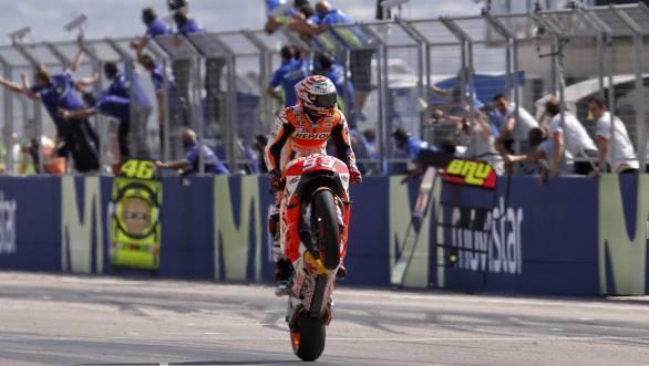 Marc Marquez celebrates his win at Aragon