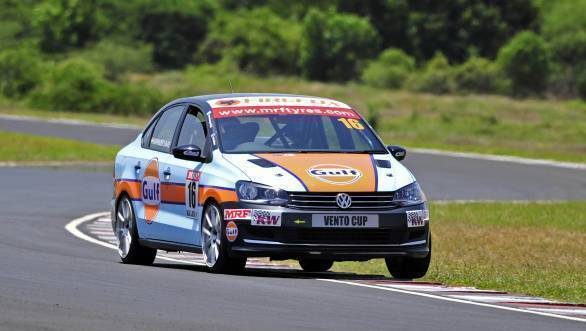 Race winner Karminder in his Vento Cup car during the first race of Round 3