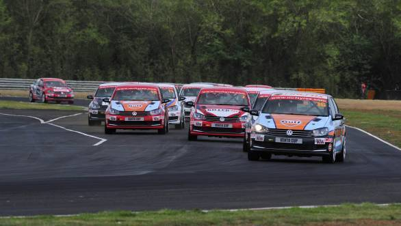 Karminder Pal Singh leads the pack during Race 1 of Round 3 of the 2016 Vento Cup