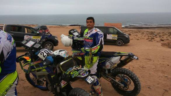 KP Aravind of Sherco TVS is ranked 27th in the 450cc class after two days of rallying