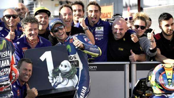 Valentino Rossi and the Movistar Yamaha team celebrate taking pole at Motegi
