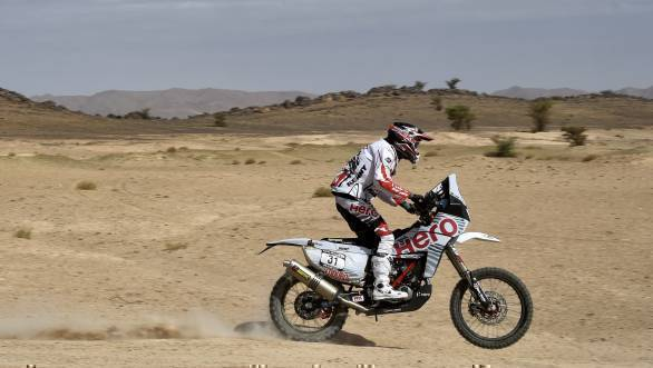 Hero MotoSports Team Rally's Joaquim Rodrigues on his way to 14th in SS2 of the 2016 Morocco Rally