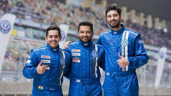 Ishaan Dodhiwala, Karminder Pal Singh and Rishaad Mody celebrate their podium finishes during the last race of the 2016 Volkswagen Vento Cup Championship at the BIC