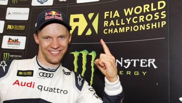 Mattias Ekström celebrates his first World Rallycross Championship title