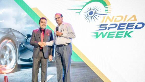 Amit Modi and Sanjay Jain, REDER Regional Executive Director Eastern Region Airport Authorities of India, at the launch of India Speed Week 2016