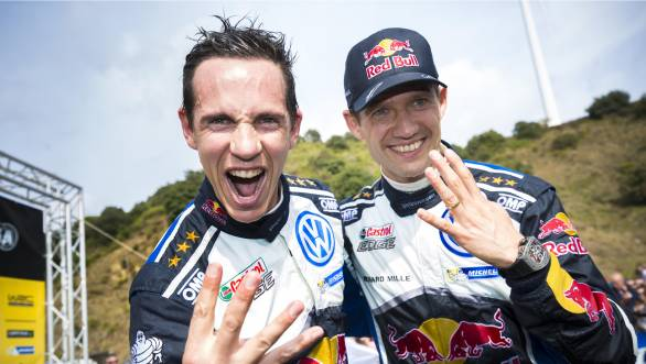Julien Ingrassia and Sebastien Ogier celebrate their fourth rally world title and seem overall pleased about their driver-codriver partnership!