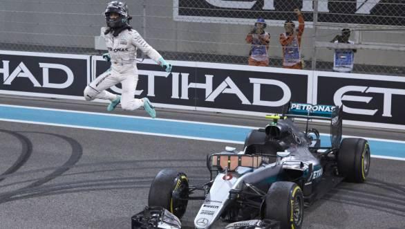 Nico Rosberg celebrates winning his first Formula 1 world championship title at Abu Dhabi's Yas Marina circuit