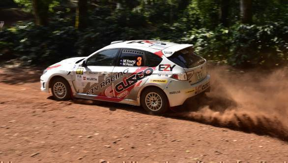 Michael Young is second at the end of Leg 1 of the 2016 Chikmagalur Rally