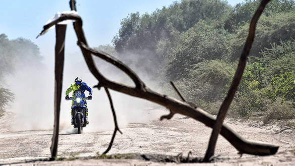 TVS Sherco's Aravind KP, who suffered two fractures after a fall in Stage 1, insisted on carrying on racing in Day 2. He finished the stage in 127th place, and is 125th overall