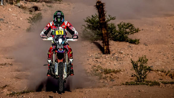 Team Honda Racing's Joan Barreda Bort won the stage and took the overall lead in the Bike category