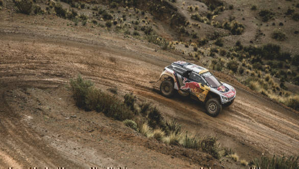 Stephane Peterhansel took the overall lead in the car category after finishing 3rd in Stage 5