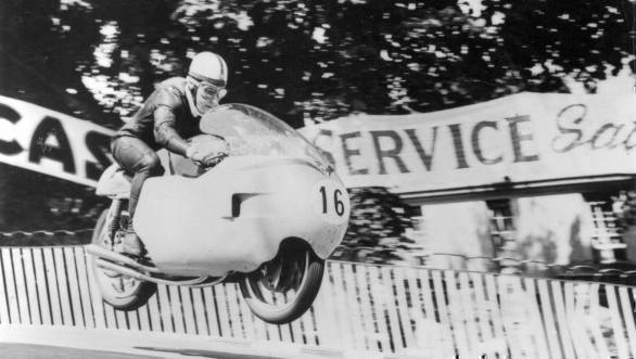 John Surtees at the Isle of Man TT. He won the Senior TT four times, becoming the first man to win the race's premier class thrice in a row