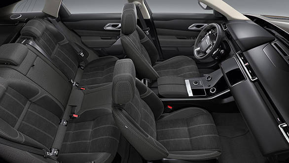 The Range Rover Velar will have two interior colour schemes. One is this all-black theme...