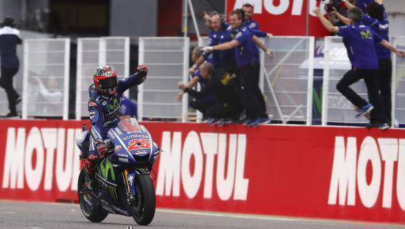 Maverick Vinales celebrates his second race win astride the Yamaha M1 as he crosses the finish line first at the Argentine GP
