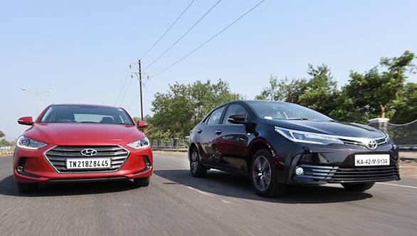 2017 Toyota Corolla vs 2016 Hyundai Elantra - Petrol AT Comparative Review