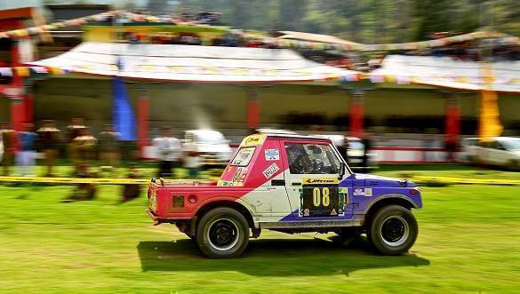 A competitor zooming past in the SSS (Super Special Stage) category on day 1 of the JK TYRE ARUNACHAL FESTIVAL OF SPEED 2017 in Dirrang today.