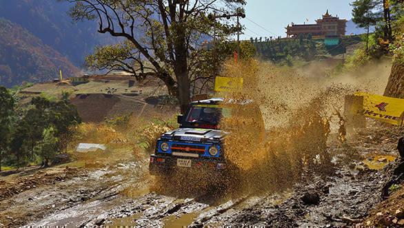 The 4th JK TYRE Arunachal Festival of Speed 2017 winner Amanpreet Ahluwalia in action