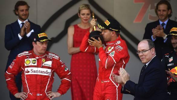 Sebastian Vettel celebrates his second win at the Monaco GP