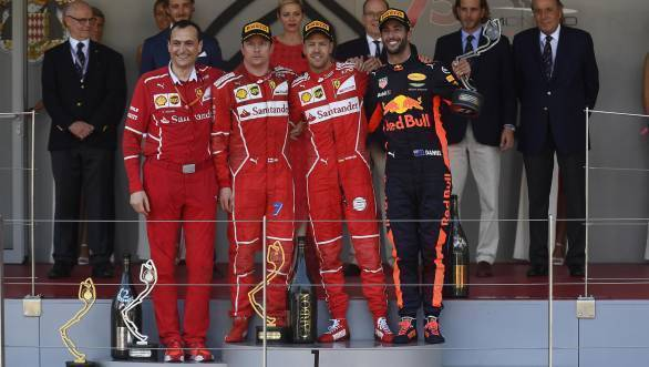 Raikkonen looks a little bothered by the fact that Vettel got the jump on him at Monaco. Or is that just Iceman Kimi as usual?