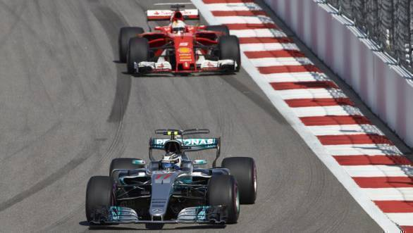 Bottas came under pressure from Ferrari's Sebastian Vettel, but hung on to claim victory at Sochi