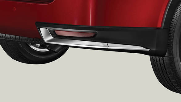 The rear bumper of the 2017 Toyota Innova Crysta Touring Sport gets a chrome highlight