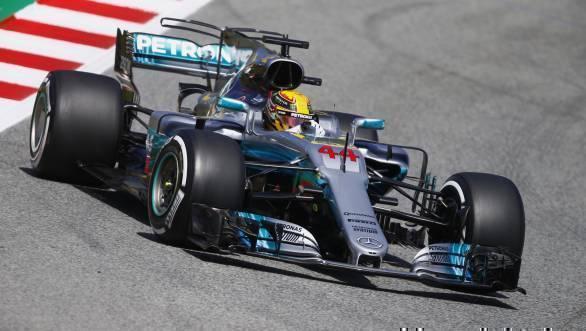 Lewis Hamilton on his way to pole at the 2017 Spanish Grand Prix