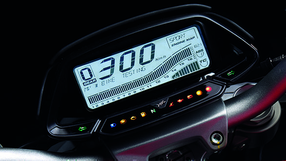 The MV Agusta Brutale 800's new digital dash is a rectangle and it is densely packed. But the display is easy to decipher. The speed read is the huge numeric on top flanked on the left by the gear position indicator and the engine map selection on the right. The rev counter spreads out across the whole display and above it on the left is the multi-information display area while below right is the coolant temperature. The final two figures on the far right bottom are ABS and traction control mode selections. The dash is controlled by an engine map selection switch on the right  and MV's unchanged terrible selection cluster on the left switch set