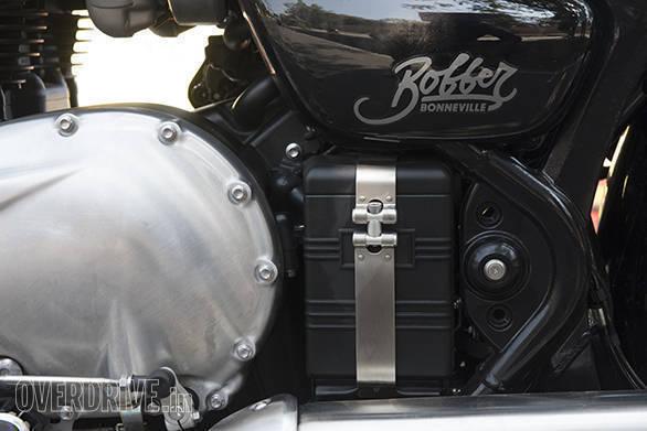 Triumph Bonneville Bobber detail, battery box