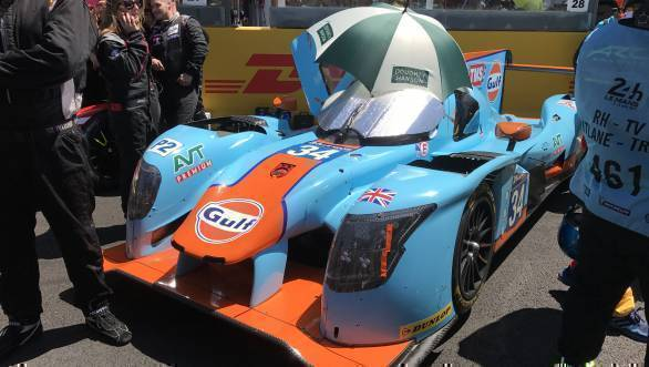 Got a slightly better glimpse of the Gulf-liveried Tockwith Motorsport LMP2 Ligier that Karun Chandhok is racing at Le Mans this year