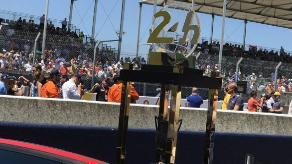 The Le Mans trophy on display in the pitlane ahead of the race start