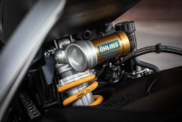 At the rear is a n Ohlins STX40 shock with 131mm wheel travel and full adjustability