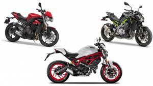 Spec Comparison: 2017 Triumph Street Triple vs 2017 Kawasaki Z900 vs 2017 Ducati Monster 797