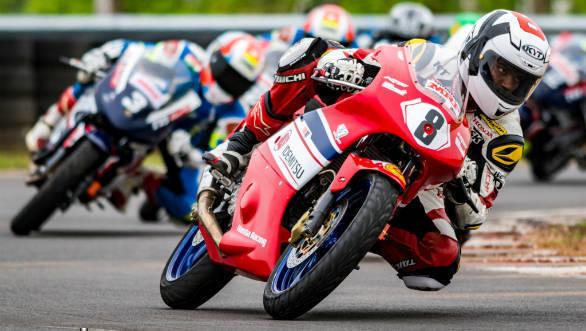 Honda rider Rajiv Sethu in action during the Supersports 165cc National Championship