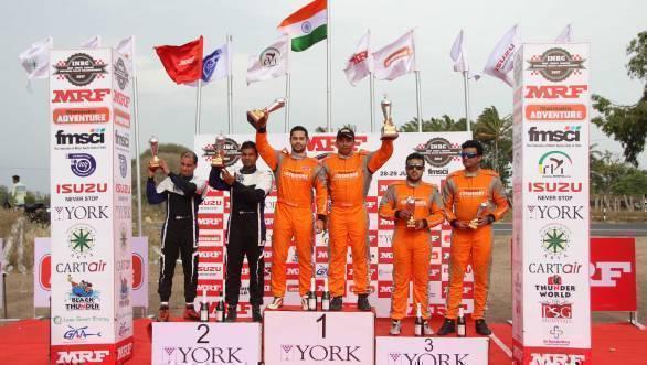 Overall podium at the 2017 Rally of Coimbatore. From left - Nikhil Pai, Karna Kadur, Gaurav Gill, Musa Sherif, Amittrajit Ghosh, Ashwin Naik