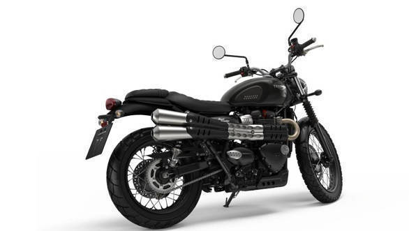 The 2017 Triumph Street Scrambler runs on 19-inch front and 17-inch rear spoked wheels