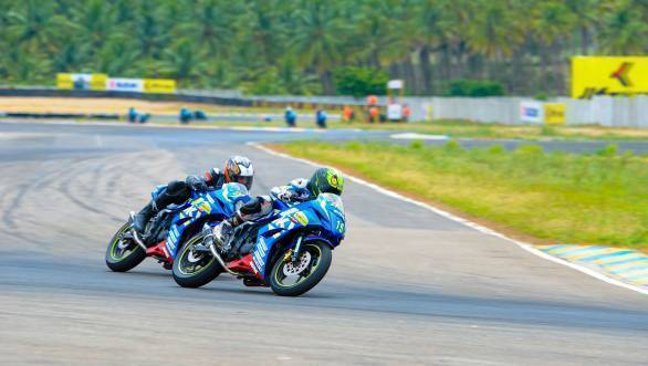 Aizawl's Joseph Matthew  breezing his way to victory in the JK Tyre - Suzuki Gixxer Cup in Round 2 of the JK Tyre FMSCI National Racing Championship at Coimbatore