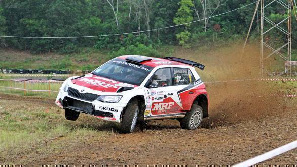 Gaurav Gill in action during the shakedown at the International Rally of Johor