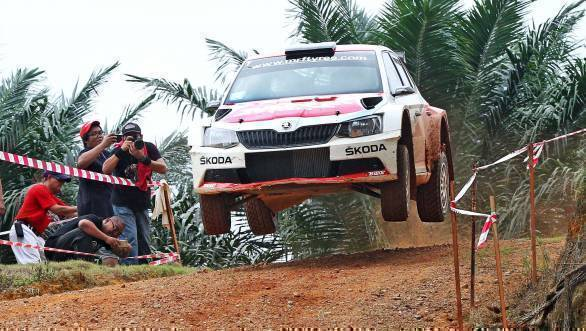 Gill and co-driver Stephane Prevot on their way to victory in every single special stage held on Day 2 of the rally