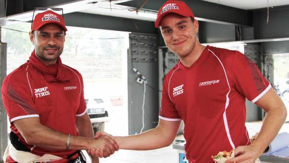 Gaurav Gill congratulates Team MRF Skoda team-mate Ole Christian Veiby on winning the International Rally of Johor